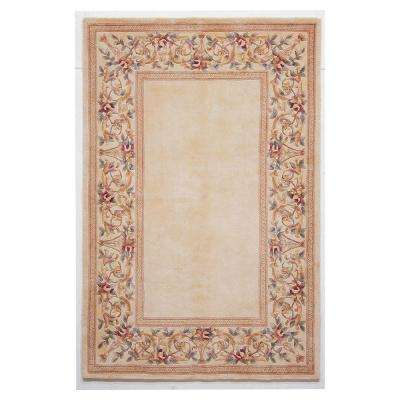 Lush Floral Border Ivory 2 ft. 6 in. x 4 ft. 2 in. Area Rug