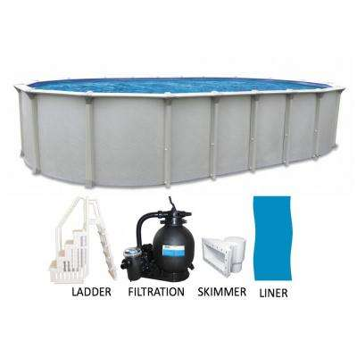 Oval 54 in. Deep Buttress Free Hard Sided Above Ground Pool Package with Entry Step System