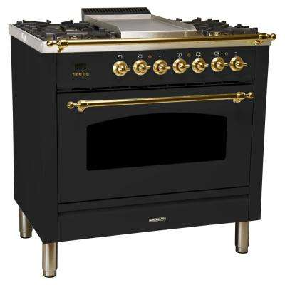 36 in. 3.55 cu. ft. Single Oven Dual Fuel Italian Range True Convection, 5 Burners, Griddle, Brass Trim in Glossy Black