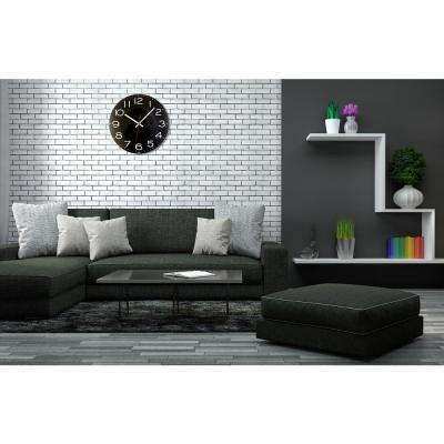11-1/2 in. Black Wall Clock with Quartz Movement