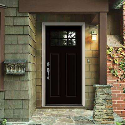 30 in. x 80 in. 6 Lite Craftsman Black Painted Steel Prehung Right-Hand Inswing Front Door w/Brickmould