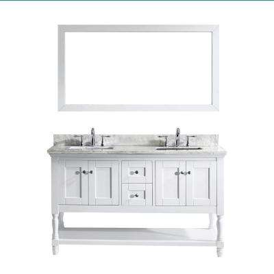 Julianna 60 in. W x 36 in. H Vanity with Marble Vanity Top in Carrara White with White Square Basin and Mirror