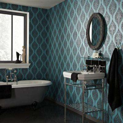 56 sq. ft. Turquoise Luna Wallpaper