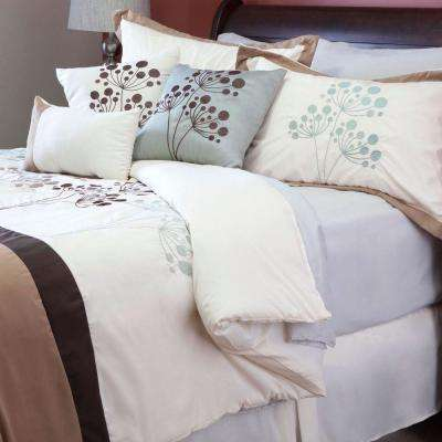 Brooke Cream Embroidered King Comforter Set (7-Piece)