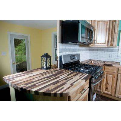 8 ft. L x 2 ft. 1 D in. x 1.5 in. T Butcher Block Countertop in Unfinished Maple/Walnut