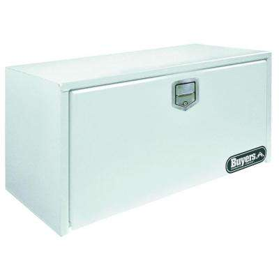 36 in. White Steel Underbody Tool Box with Stainless Steel Rotary Paddle Latch