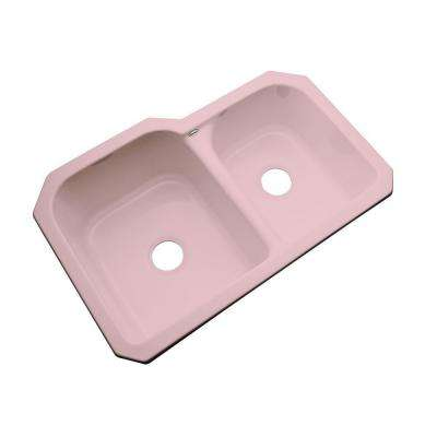 Cambridge Undermount Acrylic 33 in. 0-Hole Double Bowl Kitchen Sink in Dusty Rose