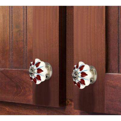 Heart 1-37/50 in. (44 mm) White Cabinet Knob (Pack of 5)