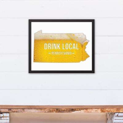 "20 in. x 16 in. ""Pennsylvania Drink Local Beer  "" Printed Framed Canvas Wall Art"