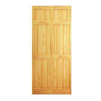24 In Clear 6 Panel Solid Core Unfinished Wood Interior Closet Bi Fold Door