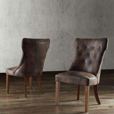 Regina Button Tufted Microsuede Side Chair (Set of 2)