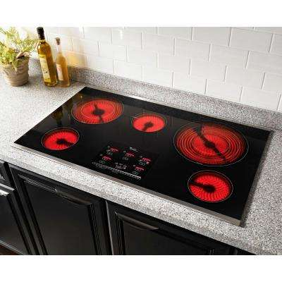 Gold 36 in. Radiant Electric Cooktop in Stainless Steel with 5 Elements including AccuSimmer Plus Element