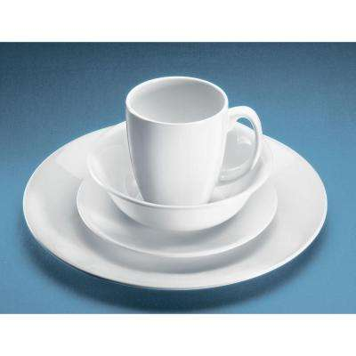 16-Piece Casual White Glass Dinnerware Set (Service for 4)