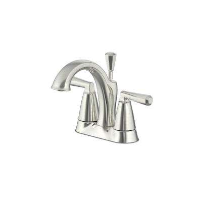 4 in. Centerset 2-Handle Bathroom Faucet with matching Pop-Up Assembly in Brushed Nickel
