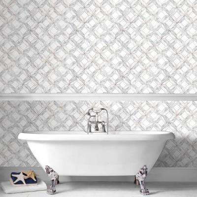 ... Marble Marquetry White, Gray and Rose Gold Removable Wallpaper Sample