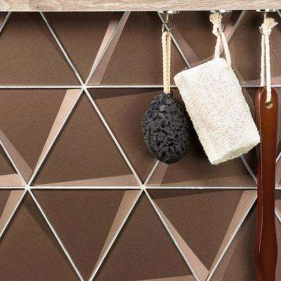 Wister Bronze 5.19 in. x 12.06 in. 12mm Polished Glass Mosaic Wall Tile (0.42 sq. ft. Per Sheet)