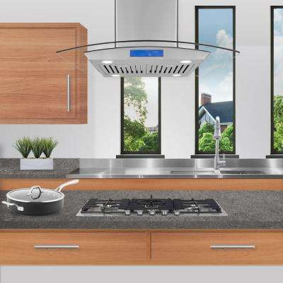 Ducted Island Range Hood In Stainless Steel With Led Lighting And Permanent Filters