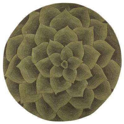 Corolla Green 5 ft. 9 in. x 5 ft. 9 in. Round Area Rug