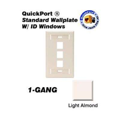 1-Gang Quickport Standard Size 3-Port Wallplate with ID Windows, Light Almond