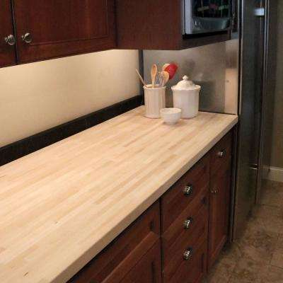 6 ft. 2 in. L x 3 ft. 3 in. D x 1.5 in. T Butcher Block Countertop in Unfinished Maple