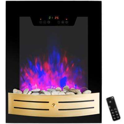 19 in. Wall Mount Electric Fireplace Heater in Black with Tempered Glass, Pebbles and Remote Control
