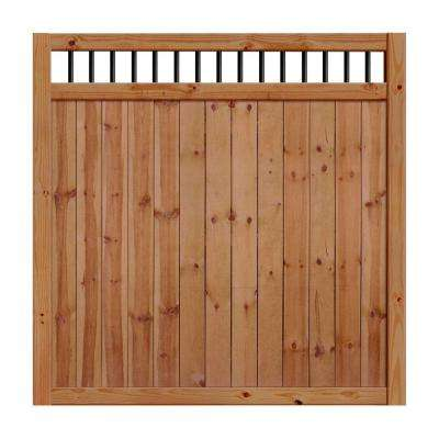 6 ft. H x 6 ft. W Unassembled Pressure-Treated Cedar-Tone Baluster Top Pine Fence Kit