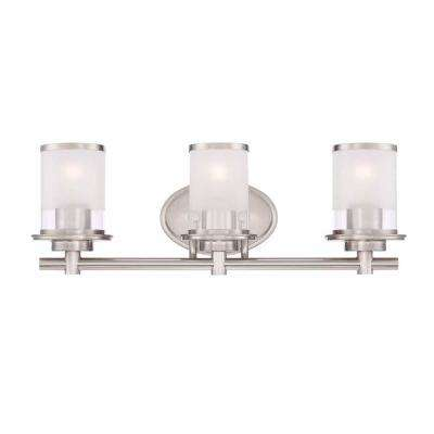 3-Light Brushed Nickel Bath Bar Light with Clear and Sand Glass