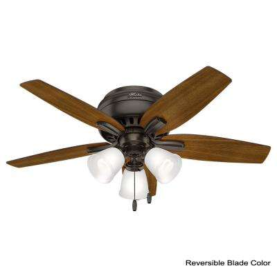 Newsome 42 in. Indoor Low Profile Premier Bronze Ceiling Fan with 3-Light Kit