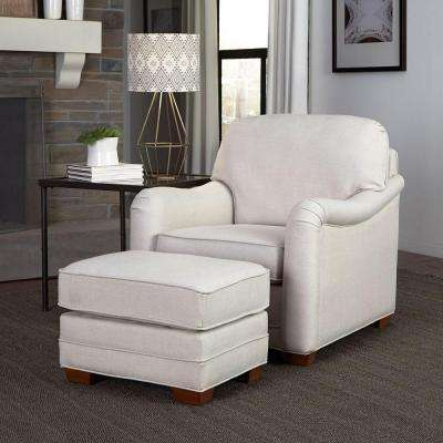 Heather Off-White Arm Chair with Ottoman