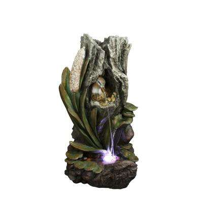 31 in. Duck Nest Rainforest Fountain with White LED Lights