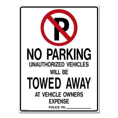 18 in. x 24 in. Black and Red on White Styrene No Parking with Symbol Sign