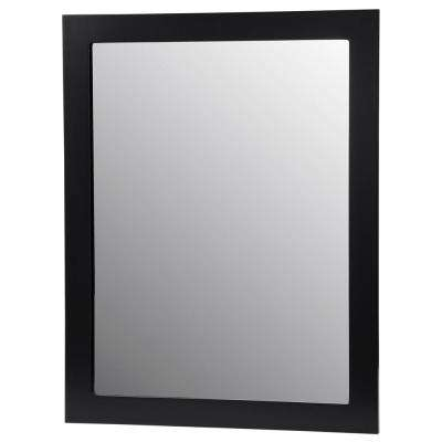 Berto 24 in. W x 19 in. D Floating Vanity in Black with Vanity Top in White with White Basin and Mirror