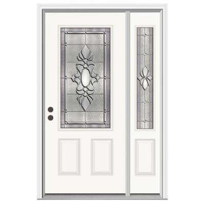 52 in. x 80 in. 3/4 Lite Langford Primed Steel Prehung Right-Hand Inswing Front Door with Right-Hand Sidelite