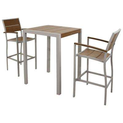 Surf City Textured Silver 3-Piece Patio Bar Set with Tree House Slats