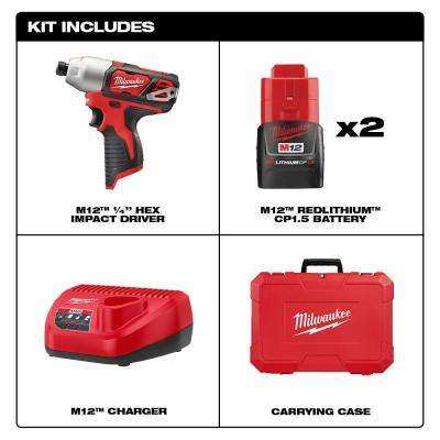 M12 12-Volt Lithium-Ion Cordless 1/4 in. Impact Driver Kit W/(2) 1.5Ah Batteries, Charger & Case
