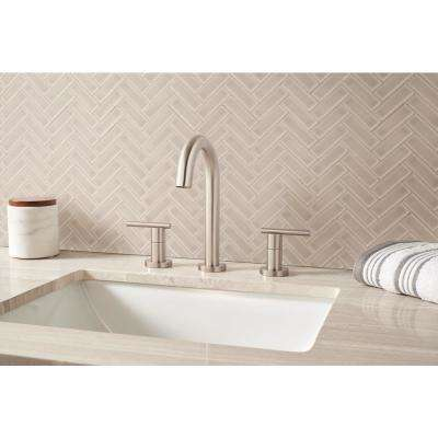 Portico Pearl Herringbone 11.3 in. x 12.56 in. x 8mm Glossy Ceramic Mesh-Mounted Mosaic Tile (9.86 sq. ft. / case)