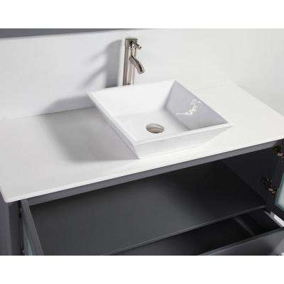 Jordan 48 in. W x 18.5 in. D x 36 in. H Vanity in Grey with Quartz Vanity Top in Off-White with White Basin and Mirror