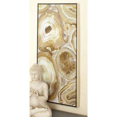 17 in. x 37 in. Brown Marble Framed Canvas Wall Art