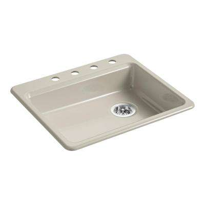 Riverby Top-Mount Cast Iron 25 in. 4-Hole Single Bowl Kitchen Sink in Sandbar
