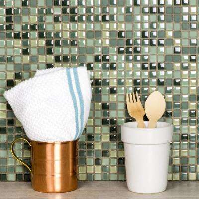 Petite Spring Green Grid Mosaic 0.375 in. x 0.375 in. Glass Mesh Mounted Wall & Floor Tile (0.98 Sq. ft.)