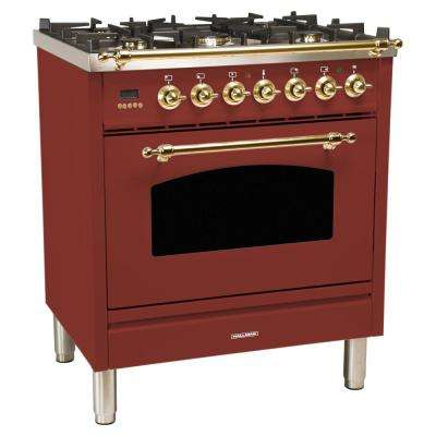 30 in. 3.0 cu. ft. Single Oven Dual Fuel Italian Range with True Convection, 5 Burners, Bronze Trim in Burgundy