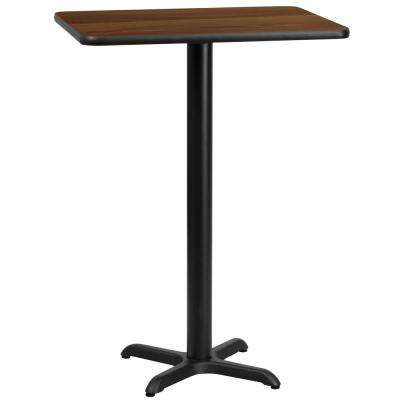 24'' x 30'' Rectangular Walnut Laminate Table Top with 22'' x 22'' Bar Height Table Base