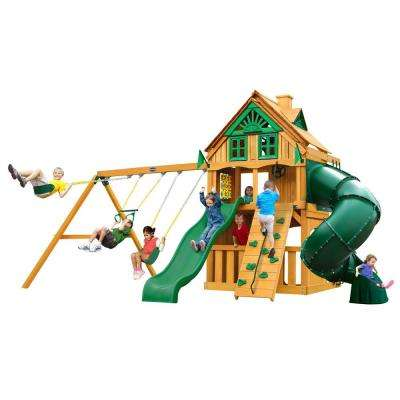 Mountaineer Clubhouse Treehouse with Fort Add-On and Amber Posts Cedar Playset
