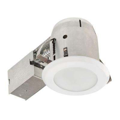 4 in. Glossy White with Frosted Lens LED IC Rated Shower Recessed Lighting Kit Bathroom Dimmable Downlight