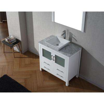 Dior 37 in. W Bath Vanity in White with Marble Vanity Top in White with Square Basin and Mirror and Faucet