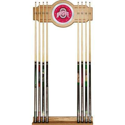 The Ohio State University 30 in. Wooden Billiard Cue Rack with Mirror
