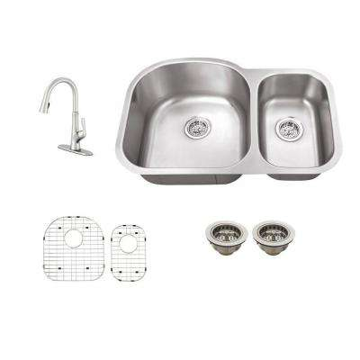 All-in-One Undermount Stainless Steel 29-1/2 in. 0-Hole Double Bowl Kitchen Sink with Faucet