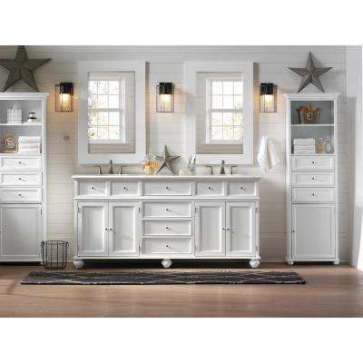 Hampton Harbor 72 in. W x 22 in. D Double Bath Vanity in White with Natural Marble Vanity Top in White