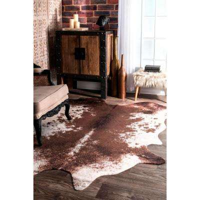 Halina Faux Cowhide Brown 5 ft. x 7 ft.  Shaped Rug