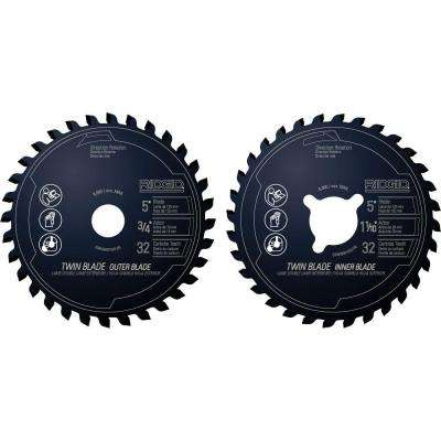 5 in. x 32-Tooth Dual Twin Saw Blade Set